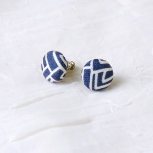 Round navy white geometric fabric button earrings